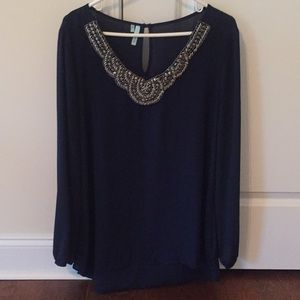 Navy Embellished Shirt